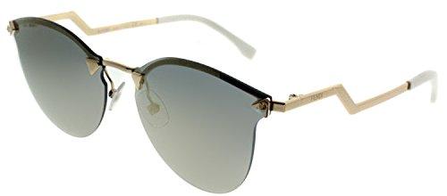 Fendi FF 0040 000 JO Rose Gold Metal Oval Sunglasses Gold Mirror - Mirror Fendi