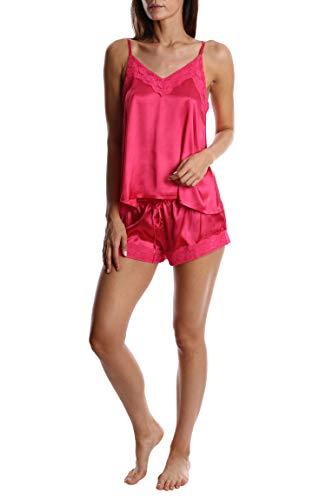 (Blis Women's Satin Cami & Boxer Short Pajama Set - Ladies Sleep & Loungewear PJs - Hot Pink Cami Set, X-Large)
