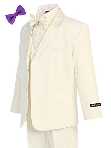 Bello Giovane Boys Ivory Tuxedo No Tail 6 Piece Set 2T-7 (Pick Free Bow Tie) (3T, Purple)