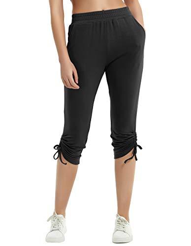 SPECIALMAGIC Women's Capri Sweatpants with Pockets Cropped Joggers Yoga Slim Fit Pants Running Sport