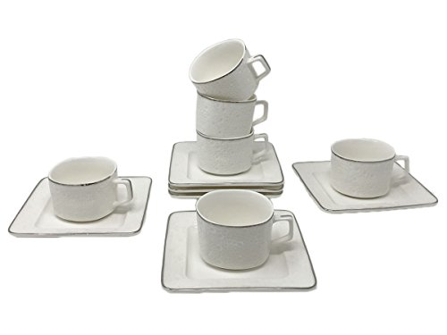 Fine Bone China Porcelain Coffee Espresso Set White Platinum Edge 2.8 Ounce, Set of 6 Espresso Cups and Saucers