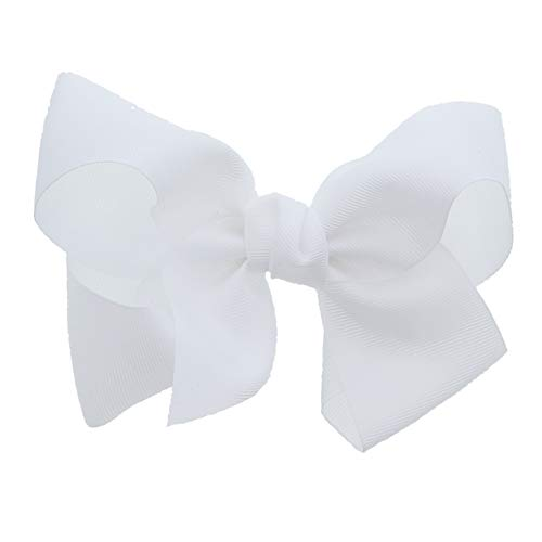 (White 5.5 Inch Grosgrain Hair Bow Clip For Woman And Girls)