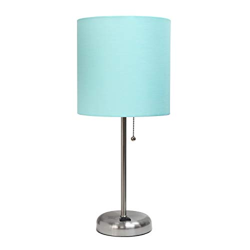 Limelights LT2024-AQU Stick Lamp with Charging Outlet and Fabric Shade, Aqua (Blue Decor Bedroom Teal)