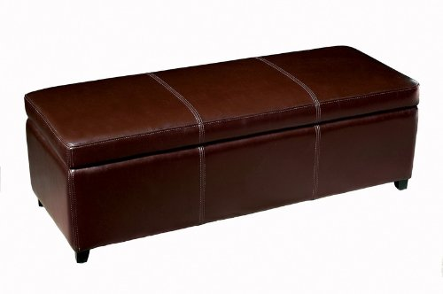 Baxton Studio Dark Brown Full Leather Storage Bench Ottoman with Stitching For Sale
