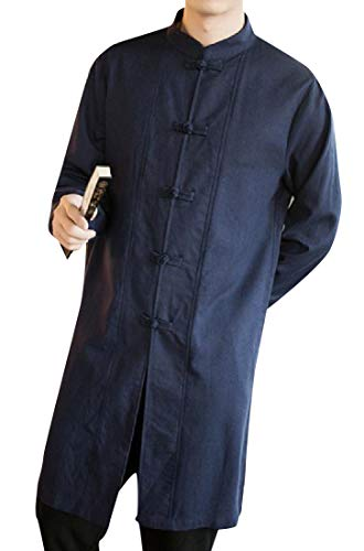 Tower Chi Tai (Tootless-Men Side Split Tai Chi Cotton Linen Thigh-Length Overcoat Navy Blue M)