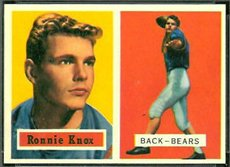 1957 Topps Regular (Football) Card# 149 Ronnie Knox of the Chicago Bears Ex Condition