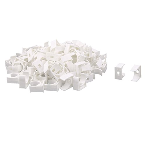 uxcell PVC Household U Shaped Water Supply Pipe Hose Holder Clamps Clips 100 Pcs White