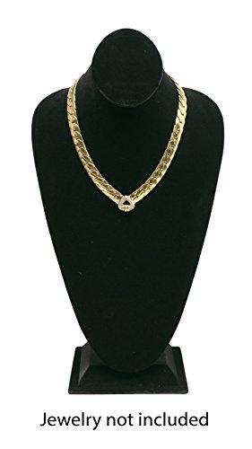 Novel Box® Black Velvet Necklace Jewelry Display Bust Stand X-Large (15.5X8X5
