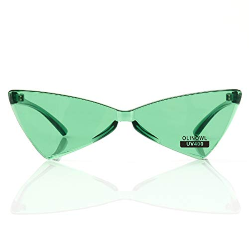 OLINOWL Triangle Rimless Sunglasses One Piece Colored Transparent Sunglasses For Women and Men, - Green Sunglasses