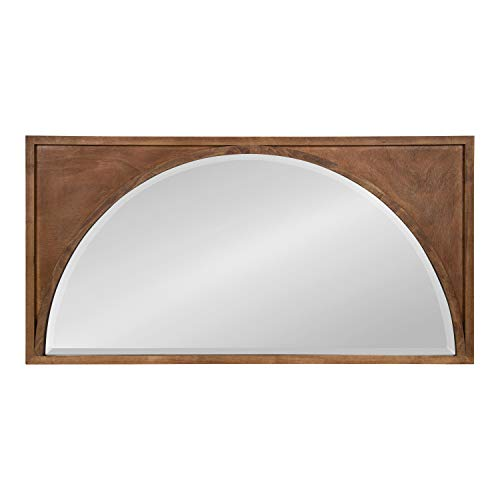 Kate and Laurel Andover Modern Casual Wood Framed Wall Panel Arch Mirror with Beveled Edge, Brown, 42x21.5 ()