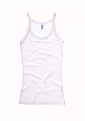 Bella Ladies Catrina Sheer Rib Tank, Large, White