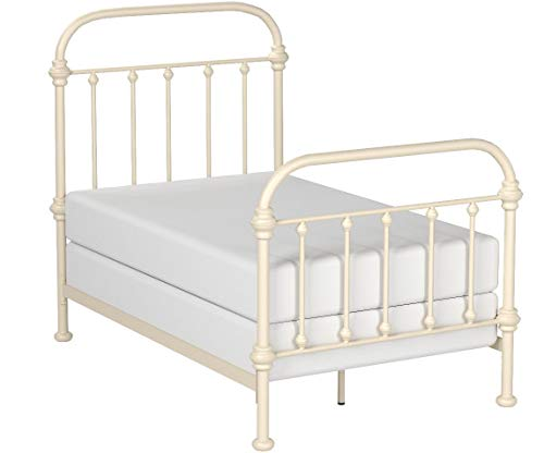 Inspire Q Giselle Antique White Graceful Lines Victorian Iron Metal Bed (Twin)