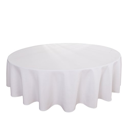 HIGHFLY Linen Round Tablecloth 90 inch Waterproof White Tablecloth Wedding Party - Inch 90 Tablecloth