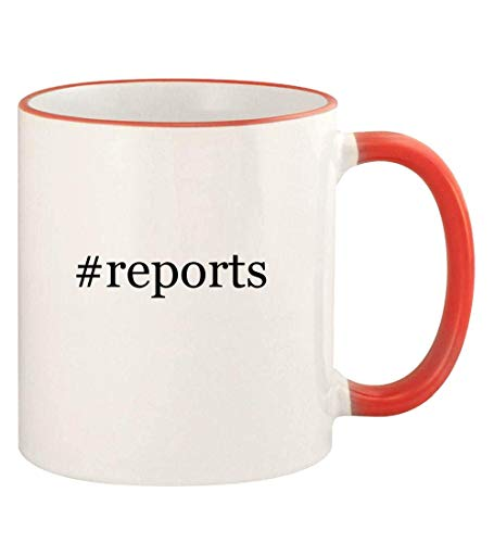 #reports - 11oz Hashtag Colored Rim and Handle Coffee Mug, Red (Consumer Reports Best Microwave 2019)