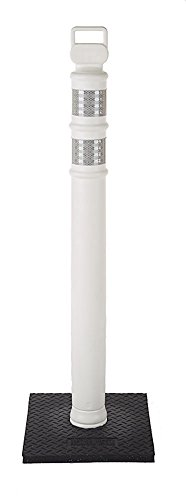 Cortina 03-747WRBC Polyethylene Portable Delineator Post with 10 lbs Recycled Rubber Base, 45'' Height, White by Cortina