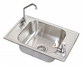 Elkay Classroom Sink - Elkay CDKRC2517VRC Celebrity Double Ledge Classroom Sink, Single Bowl, Vandal Resistant Sink Package