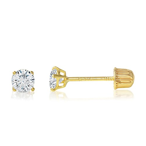 Ioka - 14K Yellow Gold Round Solitaire Cubic Zirconia CZ Stud Screw Back Earrings - 0.05ct (2mm) ()