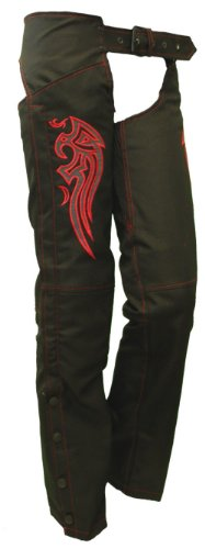 Ladies Textile Chaps w/ Red Embroidered Wings