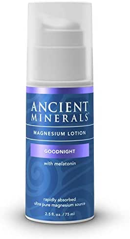 Ancient Minerals Goodnight Magnesium Lotion with Melatonin and OptiMSM - Night Cream of Topical Nighttime Moisturizing Lotion formulated for Bedtime Absorption (2.5oz)