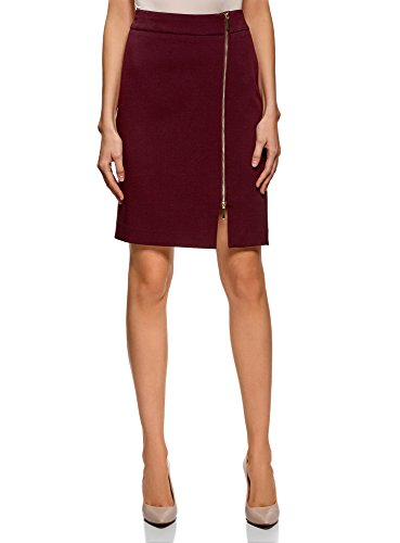 oodji Collection Femme Jupe Coupe Droite avec Fermeture clair Rouge (4900n)