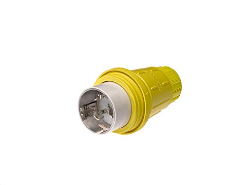 Woodhead CS81W65 Watertite Wet Location Locking Blade Plug, 3-Phase, 4 Wires, 3 Poles, California Style Configuration, Yellow, 50A Current, 480V ()