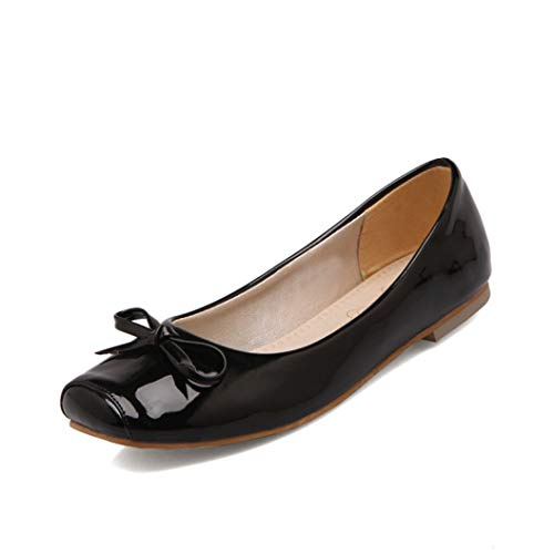 Flat Bottom Single Shoes Women Square Toe Shallow Pumps with Bowknot Genuine Leather Slip on Footwear