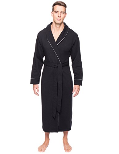 Men's Fleece Lined French Terry Robe - Black - S/M (French Terry Robes)
