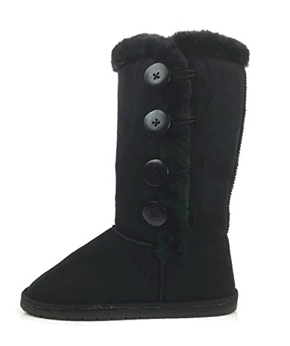 Womens Trish Soft Fur Lined Warm Winter Boot Mid Calf Faux Suede Girls, Black Tall, 7 (Boot Winter Kids Fur Suede)
