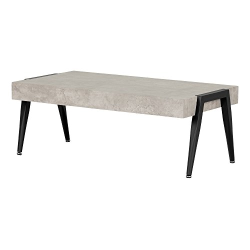 South Shore Industrial Coffee Table with Metal Legs, Gray & Black