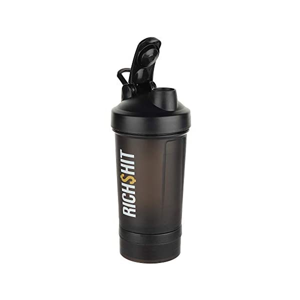RichShit Protein Shaker Bottle for Gym Sports Sipper Bottle for Men & Women, 450 ml (Black) 2021 July The oscillating and swinging movements of the flexible spring blends and mixes powdered drinks to a smooth consistency, without lumps or clots. Two detachable storage cups for dry protein powders, fruits, snacks, pre/post workout supplements, keys or even cash. One pill box with 4 sections for capsules and pills. Wire whisk lid with is attached inside the bottle. The wire whisk provides the versatility of mixing powdered supplements into a smooth and clumps free shake for immediate consumption.