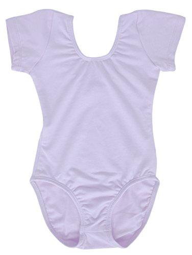 Dancina Toddler Ballet Leotard Short Sleeve Cotton Soft Full Front Lined Unitard 2T Lavender - Lavender Cotton Shorts