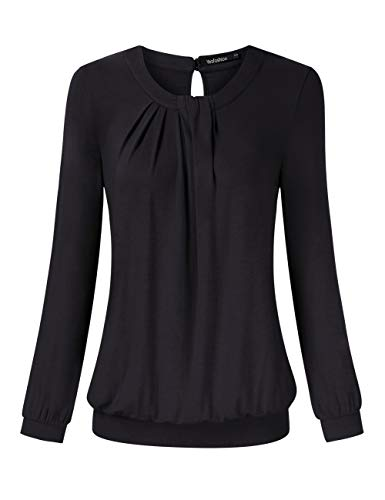 30306ce48aca Yesfashion Women Long Sleeve Scoop Neck Twisted Pleated Tops Blouse Black XL