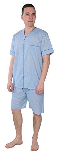 Beverly Rock Men's Solid Woven Short Sleeve Short Leg Pajama Set 95501 Light Blue XXL