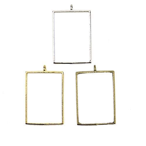 JETEHO 30pcs 3 Colors Square Open Back Bezel Pendant with 1 Loop - Alloy Open Back Charms UV Frame for Resin, Polymer(Gold, Silver and Bronze)