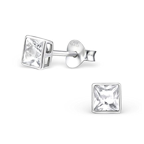 - Diamond Wish Sterling Silver Princess-cut Genuine White Topaz Stud Earrings (AAA Quality) Bezel Set, Push Back