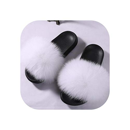 Fox Fur Slippers Real Fur Slides Summer Flip Flops Casual Vogue Fox Fur Sandals,White,38 (Renew Vogue)