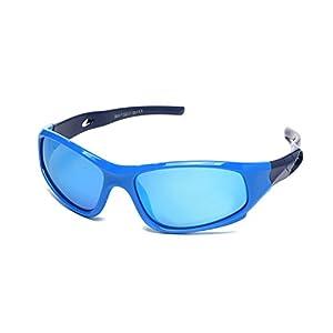 YAMAZI Children Sports Polarized Sunglasses For Kids Boys Girls Rubber Flexible Frame Sunglasses UV Protection (Blue   blue lens, Grey)