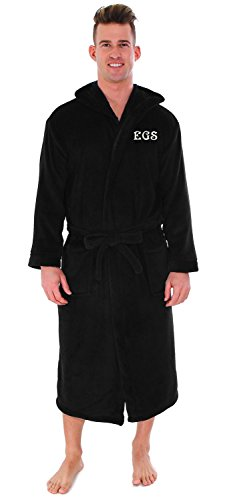 Personalized Custom Unisex Luxurious Plush Fleece Hooded Kimono Bathrobe Black -