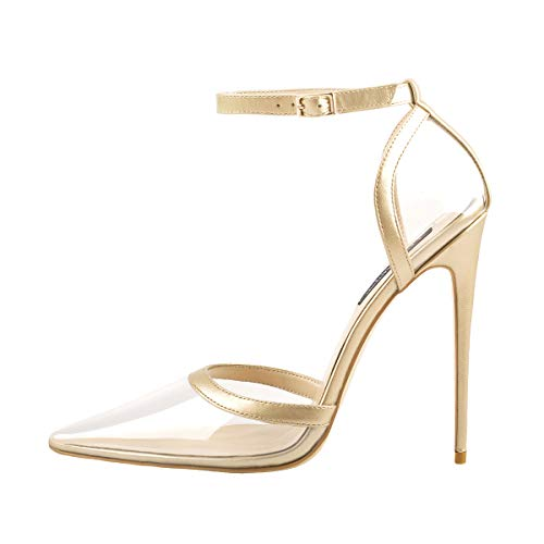 (Onlymaker D'Orsay Closed Pointed Toe Clear Ankle Strap Pump Buckle High Heels Stiletto Dress Shoes Gold 10 M US)