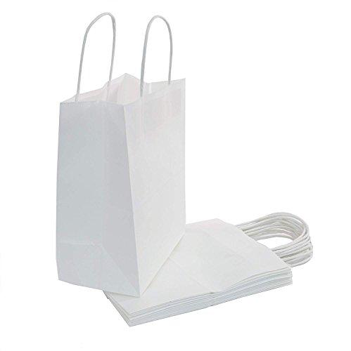 250pcs White Kraft Shopping Paper Bag 60# Natural Kraft Paper 8 x 4 x 10 1/2