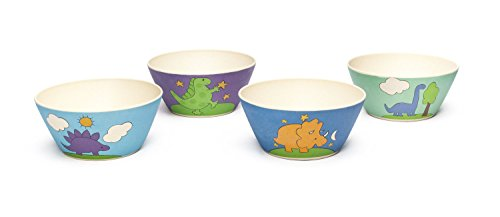 (Bamboozle Tiny Footprints Dinosaur Bowls Set of 4, 24 Piece)