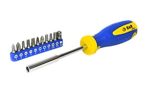S&R Schraubendreher-Bithalter magnetisch mit Bitsatz, 12-teilig, Krafftform-Griff, 210 mm, 250.011.100