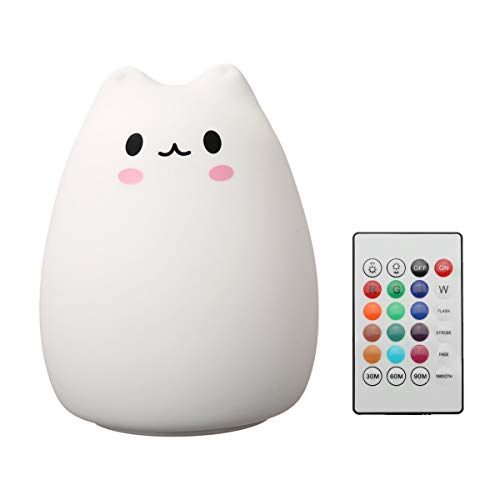 Elfeland Children Night Light LED Cute Silicone Cat Lamp 12+1 Colors/6 Lighting Modes/USB Rechargeable/Timing Off Remote&Tap Control Night Light for Kids Nursery Baby Bedroom Living Room Birthday Gift