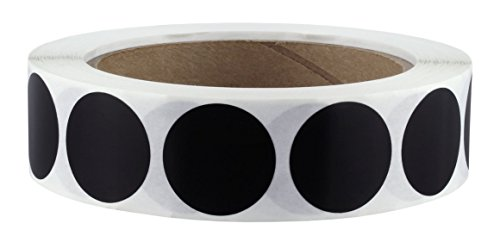 "1"" Black Color-Code Dot Labels on Cores - Permanent Adhesive, 1.00 inch - 1,000 Stickers per Roll"