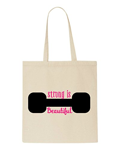 Tote Strong Bag Beautiful Shopper Workout Motivational Beige Is Dumbbell nXqRxYPr4X