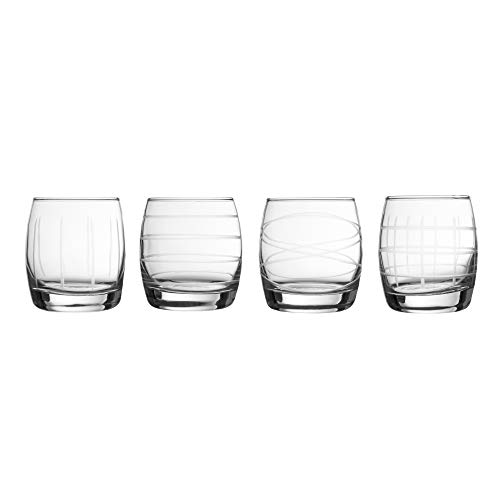 Fifth Avenue Crystal 229813-4ST Medallion Stemless Glasses 3.3x3.3