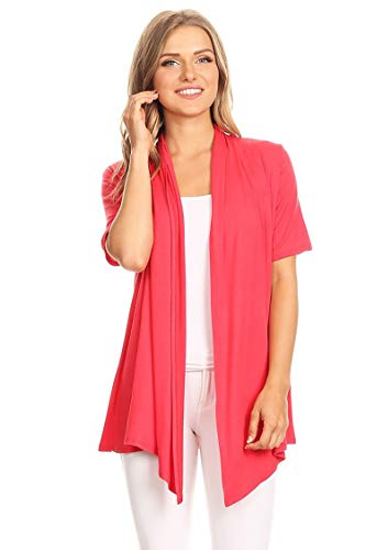 Womens Casual Basic Short Sleeves Open Front Draped Solid Cardigan/Made in USA