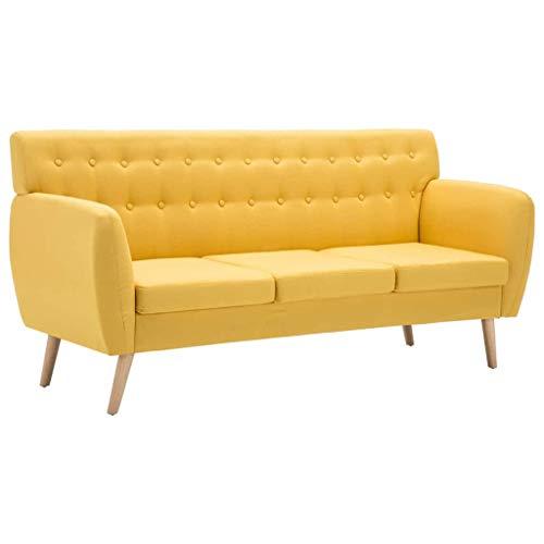 vidaXL Sofá de 3 Plazas Tapizado de Tela 172x70x82cm Amarillo Mobiliario Hogar a buen precio