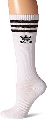 adidas Womens Originals Roller Knee High Socks (1-Pack), White/Black, Medium
