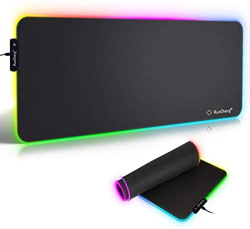Tappetino Mouse Gaming, RGB Grande Mouse Pad 10 Effetti Luce XXL 780x400mm Superficie Liscio, Base in Gomma Antiscivolo Tappetino per mouse per Computer, PC e Laptop